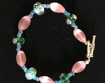 Green Floral, Blue, and Pink Glass Beaded Bracelet with Silver Toggle Clasp