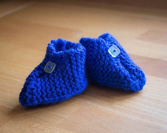 Hand knit Baby Booties with cute button feature