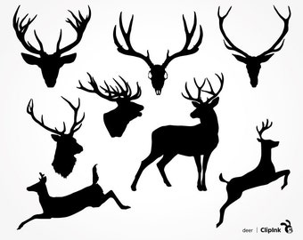 Deer svg, deer clipart, deer skull svg, silhouette, hunting svg, deer antler svg – svg, eps, png, dxf. Boho Decor Cut Print Mug Shirt.