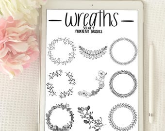9 Procreate Wreath Brushes / Stamps