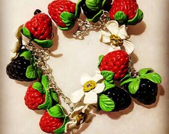Summer berries polymer clay bracelet