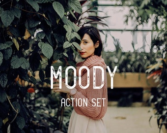 Moody Photoshop Action Set 10 Photoshop CC Actions Photo Editing Action Bundle Instant Download Photo Retouching Photography Post Processing