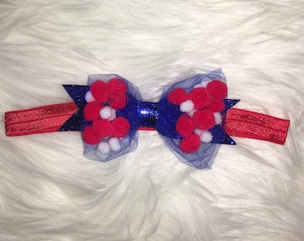 Stars and stripes Red, White & Blue Pom pom bow