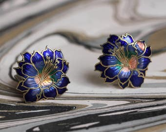 Lotus flowers clip on earrings, cloisonné enamels, China
