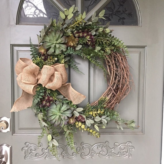 Artificial Succulent Wreath With Fern Leaves And Burlap Bow