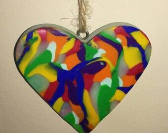 Rainbow colour hanging heart