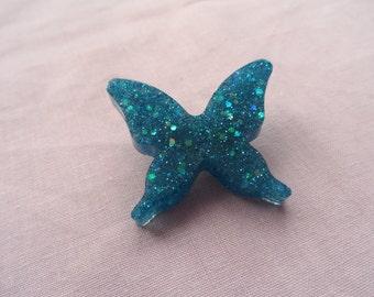 Blue glitter butterfly brooch, Lolita, women's, girls, gyaru accessories.