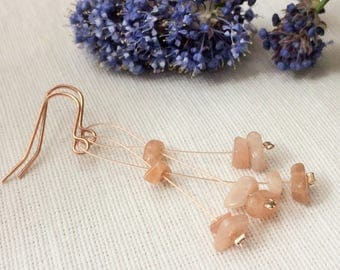 sunstone,sunstone earrings,peach colour,peach earrings,rose gold wire,rose wire earrings,rose gold earrings,Summer earrings,earrings wire,
