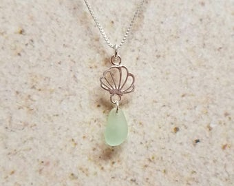 Mint Green Sea Glass Shell Necklace- FREE SHIPPING!
