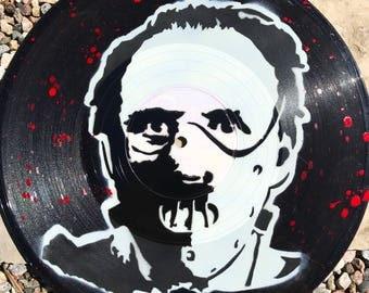 """Hannibal Lecter Stencil Art on 10"""" Vinyl Record"""