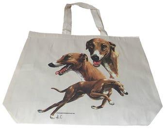 Greyhound Race  Dog  Printed Bag  100% Cotton Tote  Shopper Bag For Life