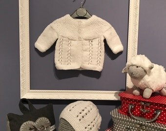 Handknitted Baby Cardigan and Hat Set