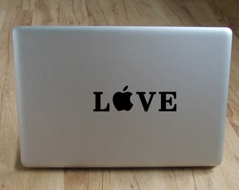 Love apple decal/sticker, laptop decal, window decal, wall decal,apple decal/sticker, macbook decal