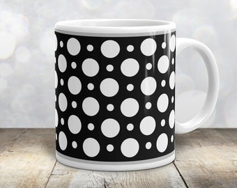 Black and White Polka Dot Mug - Stylish White Black Polka Dot Pattern - 11oz or 15oz