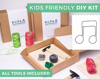 Kids friendly DIY NOTE string art kit, kids craft kit, all tools included, cool gift for kids