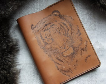 Leather journal Tiger,pyrography journal,leather notebook -4-Ring Binder , travel journal, tiger journal, gift for him, leather diary