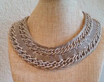 Large Silver tone Bib Necklace