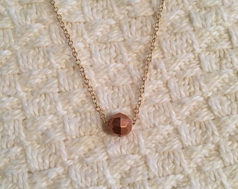 Rose gold tone single bead necklace ; dainty bead necklace ; matte gold chain