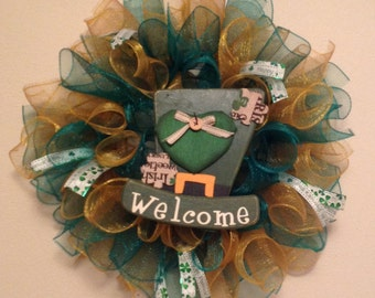 """St. Patty's Day """"Welcome"""" Wreath"""