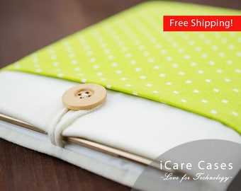13 inch MacBook Pro Case 13 MacBook Pro Sleeve MacBook Pro 13 Sleeve Case Apple Case MacBook Pro 13 Cover for 13 in Green Square Dot Pocket