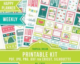 July Weekly Happy Planner, Happy Planner Stickers, Tropical Planner Stickers, July Planner, Printable Planner Sticker, MAMBI Weekly, 17032