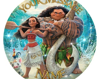 Moana Inspired Personalised Party Birthday Cake Topper. Edible print on icing 7.5""