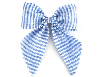 Sailor Bow | Blue and White Stripe | Linen Baby Headbands & Bows