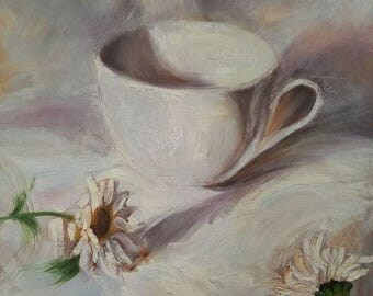 White Shades still life with chamomiles 50x50 cm 2016 Oil painting on cotton canvas (copy) Wall Art Decor Dining Room Interior Perfect gift