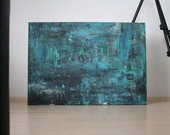 Acrylic painting turquoise - blue - grey 70x100cm