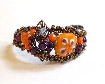 Adaptable Bracelet - Bracelet orange and purple - baroque style Cuff Bracelet has all wrist - unique Piece - model wife