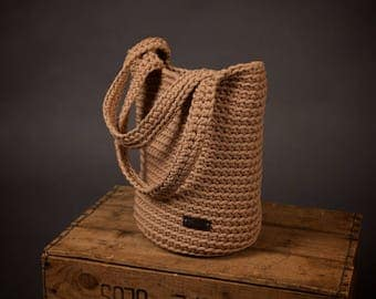 Crochet rope bag, Large bag, Knit handbag, Shoulder bag, Tote bag, Shopper bag, Casual handmade rope bag, Woven bag