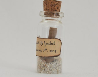 Set of Wedding Favor idea - Mini glass bottle wiht cork - Sand and note - Save the note idea