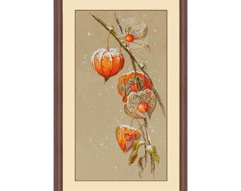 Counted Cross Stitch Kit - Physalis (Golden Hands) - Cross stitch pattern - Flowers cross stitch - Gift idea - Gift kit