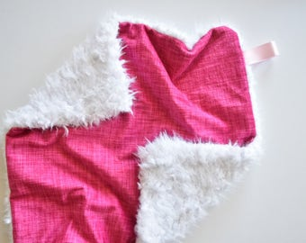 READY TO SHIP, Hot Pink Lovey, Pink lovey, Baby girl lovey, Minky Blanket, Hot pink  Lovey, Baby girl blanket, soft pink blanket, baby lovey