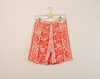 60s Print Shorts, Plus Size High Waisted Shorts, Striped Shorts, Vintage 60s Shorts, Retro 1960s Shorts, 60s Clothing, Womens Shorts