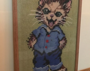 Children's painting, vintage embroidered Kitty