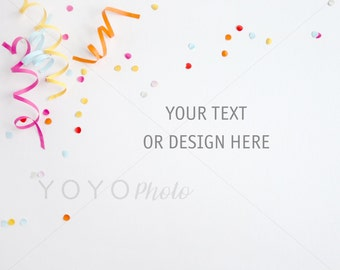Styled Colourful Desktop Stock Photography, Etsy Shop Banner, Desktop Flatlay, Party, Blog Graphic, Party Image Photo, High Res Photography