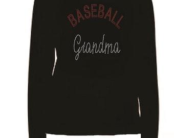 Rhinestone Baseball Grandma Ladies T Shirt                                                                 K8QE