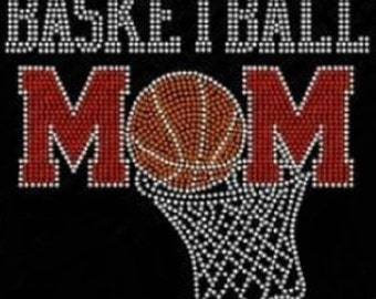 Basketball Mom Hoop Rhinestone Iron On Transfer             HHD1