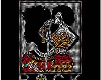 Rhinestone Black Girls Rock Lightweight T-Shirt or DIY Iron On T Shirt Transfer                                         IPK6