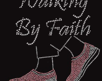 Rhinestone Breast Cancer  Walking By Faith  Ladies T Shirt or DIY Iron On Transfer     W9JG