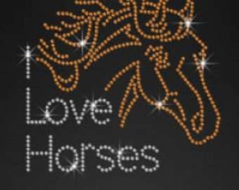 Rhinestone I Love Horses  Lightweight T-Shirt or DIY Iron On T Shirt Transfer                      QCDO