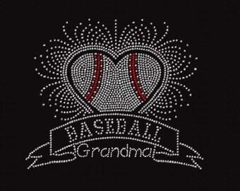 Baseball Grandma Banner Scatter Rhinestone Iron On Transfer                                           NUWU