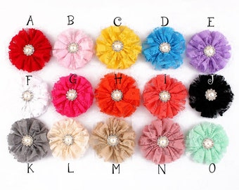 Frayed Mesh Lace Flower+Metal Pearl Button For Girls Hair Accessories Shabby Fabric Flowers For Headbands Flower Supplies 7cm