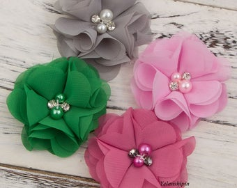 Free Shipping Mini Chiffon Flowers With Pearl Rhinestone Center For Hair Clips Lace Flower For Baby Hair Accessories DIY Flower Supplies 2""