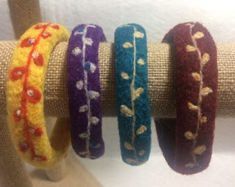 Felted Bangles Bracelets Lightweight Armbands Soft Gold Purple Teal Red