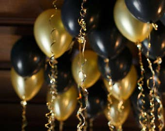 """12"""" Pearlised Helium Quality Latex Balloons 12"""" Black /Gold  with  Matching Balloon Ribbon & Balloon Clip Ties"""