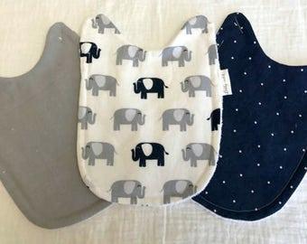 Elephant Baby Bib Set, Set of 3 Navy and Gray Elephant Bibs that Attach to Bodysuit, Mix and Match Bib Set, Great Baby Boy Shower Gift!