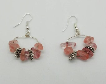 Coral pink stone earrings