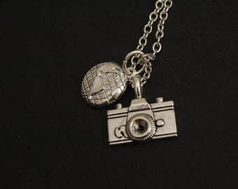 Silver globe trotter necklace